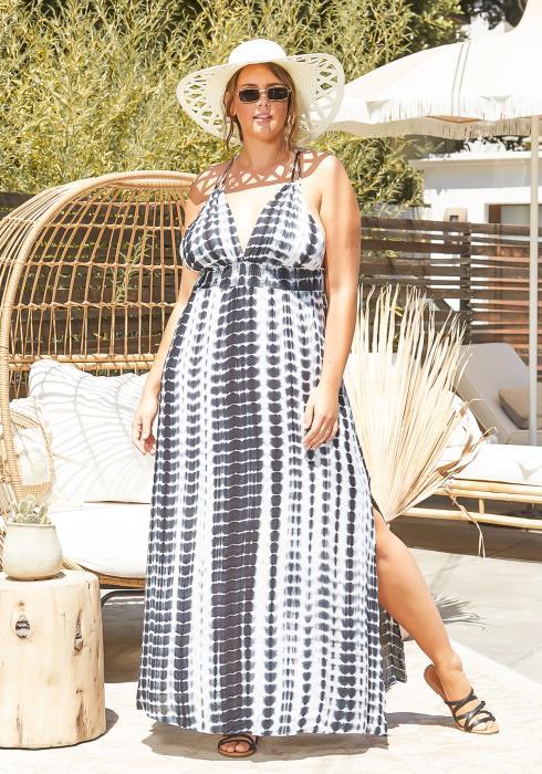 Asoph Plus Size Sun Ray Tie Dye Halter Neck Maxi Dress