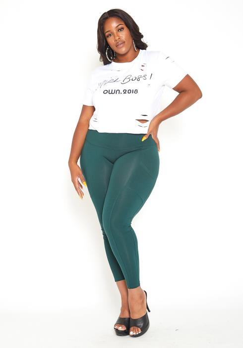 Asoph Plus Size Hunter Green High Waist Sport Leggings