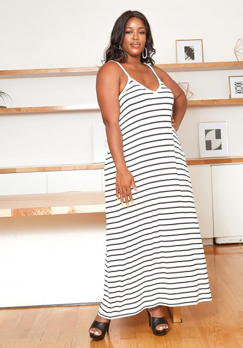 Asoph Plus Size Basic Striped Maxi Cami Dress