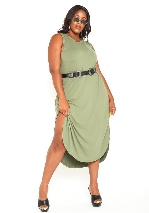 Asoph Plus Size Sleeveless Basic side Slit Midi Dress