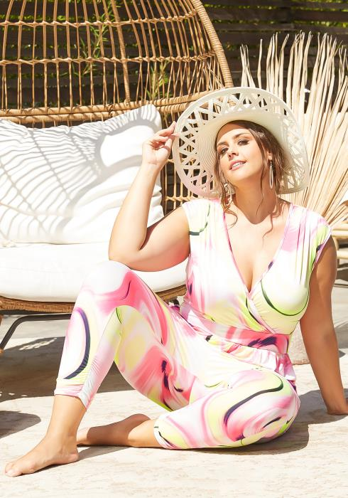 Asoph Plus Size Neon Lights Sleeveless Jumpsuit
