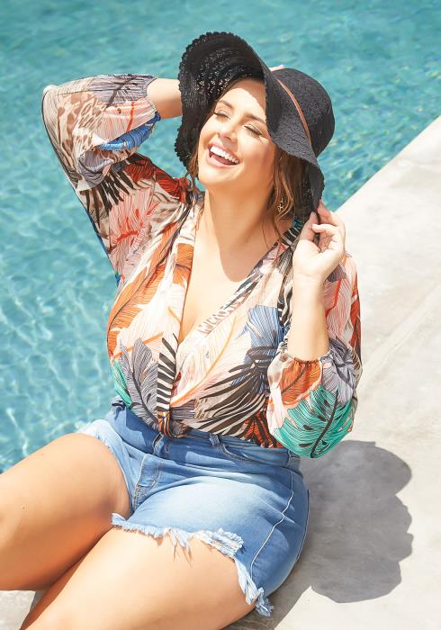 Asoph Plus Size Boho Leaf Print Long Sleeve Bodysuit