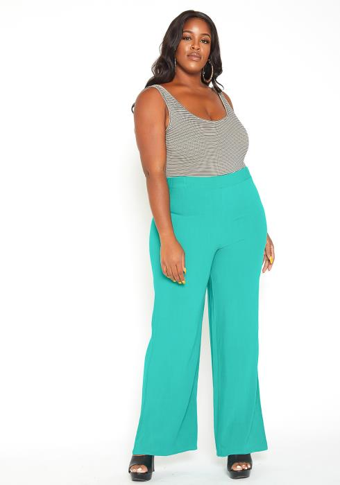 Asoph Plus Size Kelly Green High Rise Straight Pants