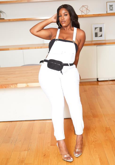 Asoph Plus Size White Denim Overalls & Fanny Pack Belt Set