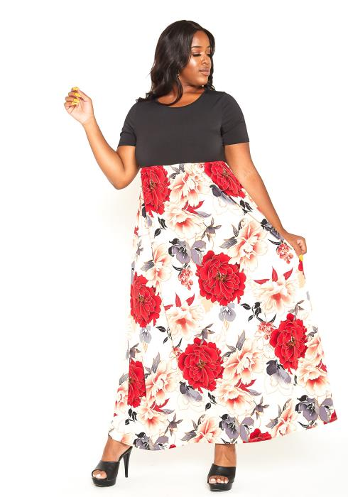 Asoph Plus Size Rosey Dream Fit & Flare Maxi Dress