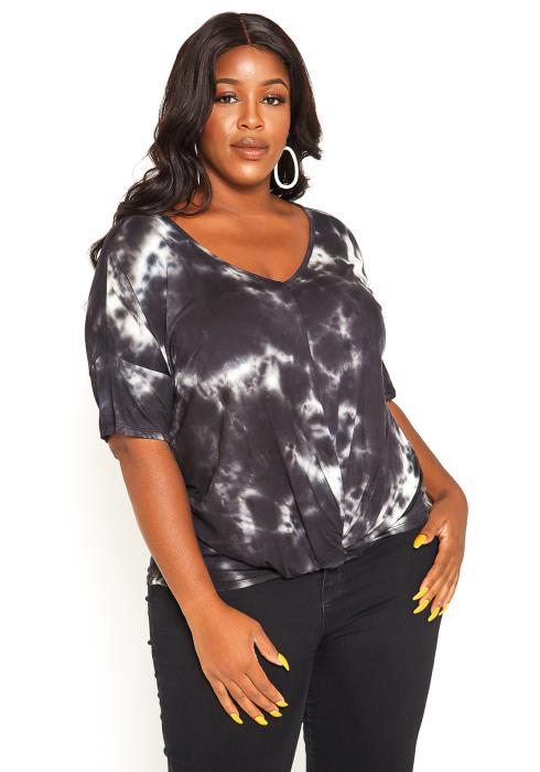 Asoph Plus Size Eclipse Tie Dye V-Neck Tee
