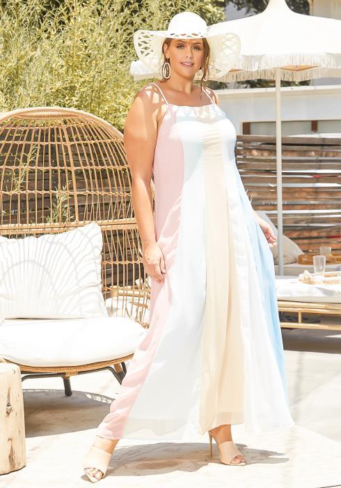 Asoph Plus Size Pastel Striped Fit & Flare Cami Maxi Dress