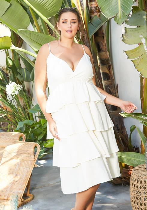 Asoph Plus Size Tier Design V Neck Cami Midi Dress