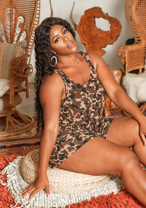 Asoph Plus Size Everyday Camo Print Tank Romper