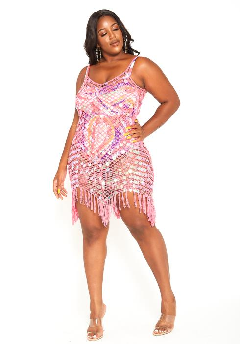 Asoph Plus Size Sequined Fishnet Cover Up Dress