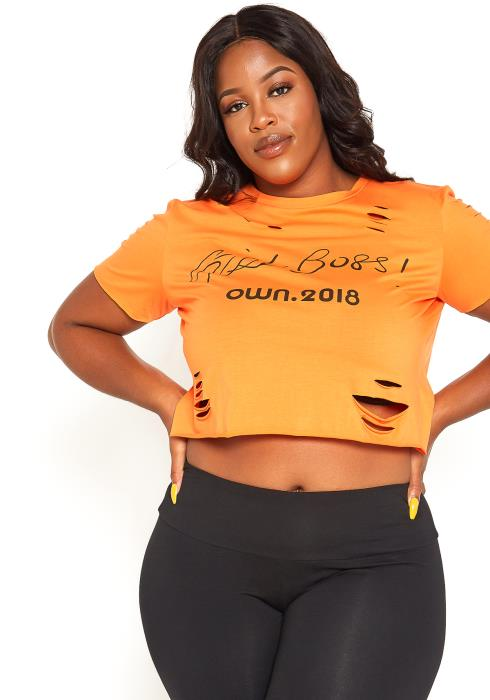 Asoph Plus Size Girl Boss Statement Tee Shirt