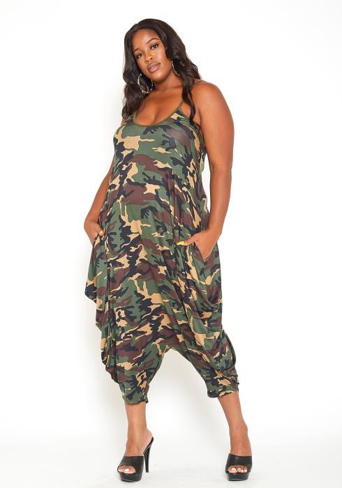 Asoph Plus Size Basic Camo Print Harem Jumpsuit
