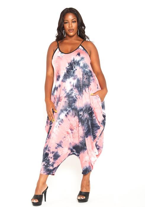 Asoph Plus Size Vivid Tie Dye Harem Jumpsuit