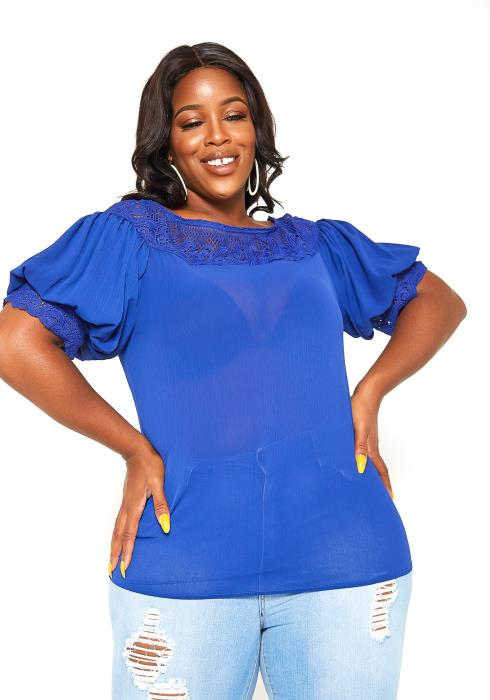Asoph Plus Size Puff Shoulder Royal Blue Top