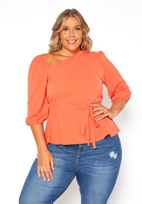 Asoph Plus Size Asymmetric Shoulder Peplum Blouse