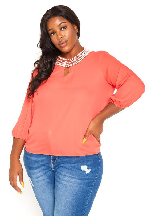 Asoph Plus Size Pearl Embedded Blouse