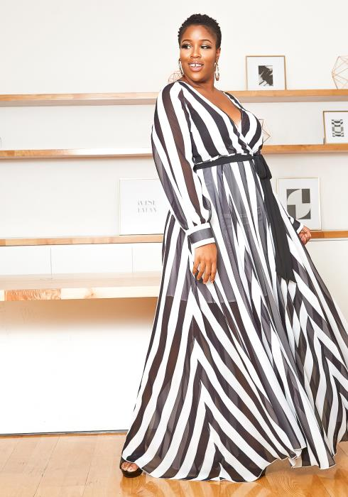 Asoph Plus Size Sheer Striped Chiffon Maxi Dress