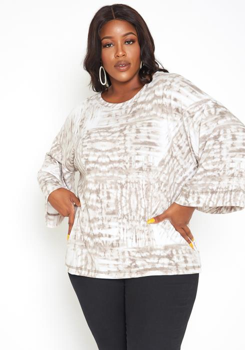 Asoph Plus Size Subtle Tie Dye Bell Sleeve Top