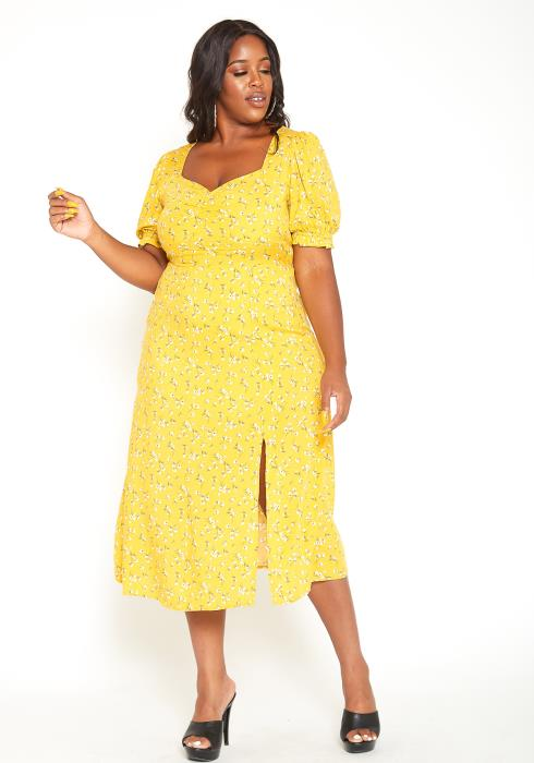 Asoph Plus Size Yellow Floral Slit Hem Midi Dress