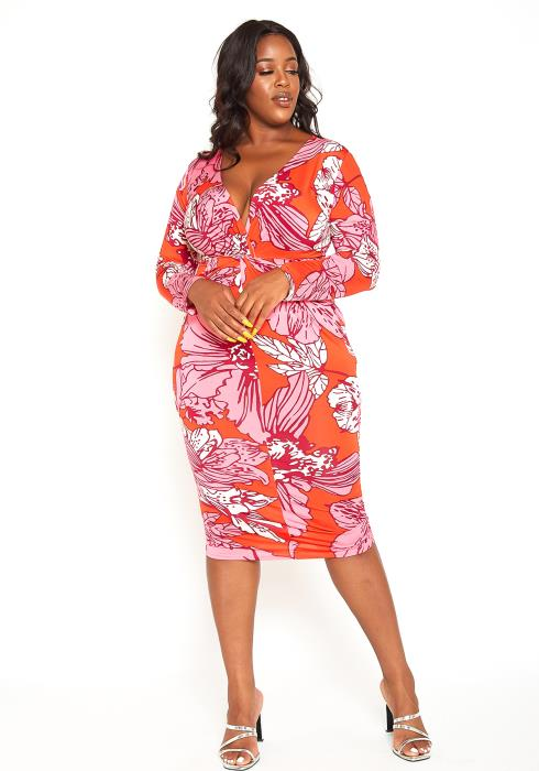 Asoph Plus Size Vivid Floral Print Bodycon Midi Dress