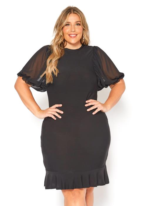 Asoph Plus Size Womens Little Black Flare End Mini Dress