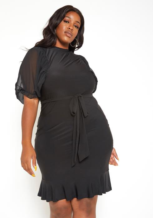 Asoph Plus Size Little Black Flare End Mini Dress