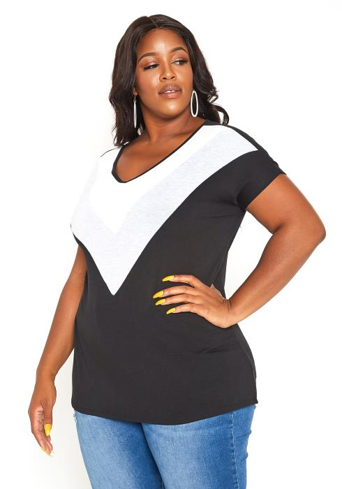 Asoph Plus Size V Striped Casual Tee Shirt