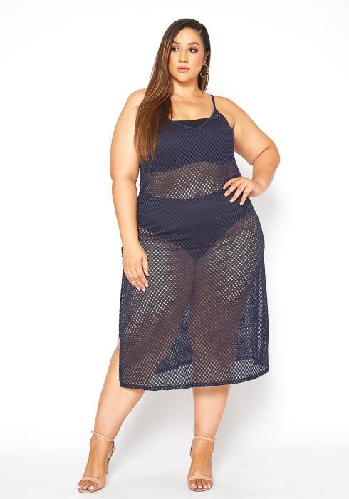 Asoph Plus Size Navy Fishnet Cover Up Midi Dress