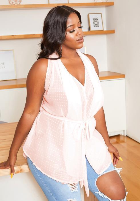 Asoph Plus Size Blushy Dotted Blouse
