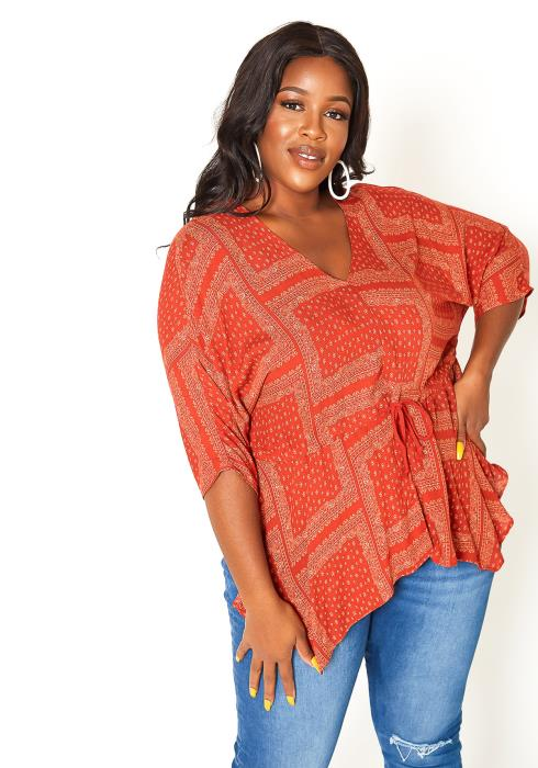 Asoph Plus Size Rustic Patterned Flare Blouse