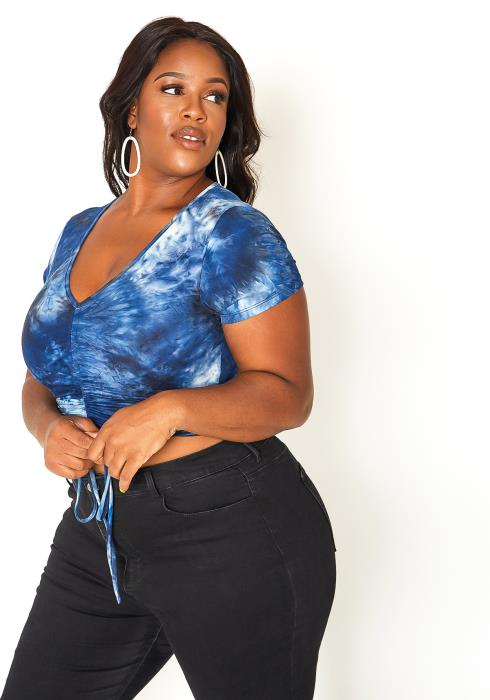 Asoph Plus Size Ocean Tie Dye Drawstring Crop Top