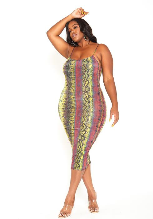 Asoph Plus Size Wild Snakeskin Print Bodycon Midi Dress