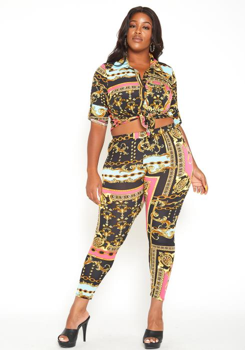 Asoph Plus Size Royal Queen Print Collar Crop Top & Leggings Set