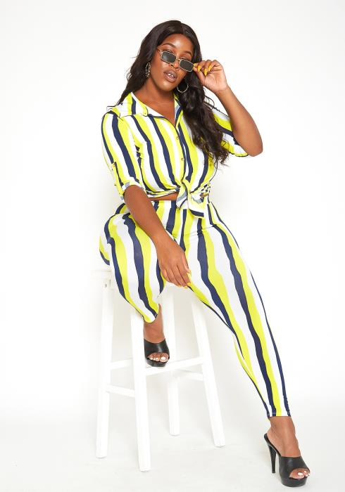 Asoph Plus Size Neon Striped Collar Crop Top & Leggings Set