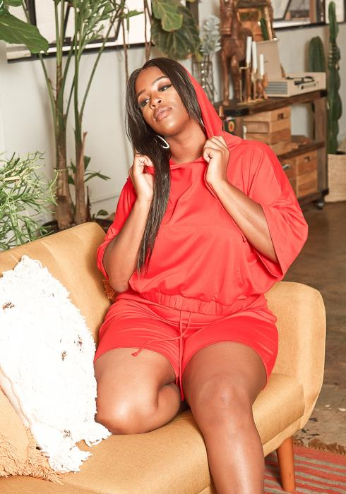 Asoph Plus Size Red Hooded Sweatshirt & Shorts Set