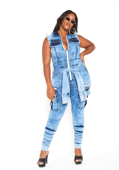 Asoph Plus Size Acid Washed Denim Sleeveless Jumpsuit