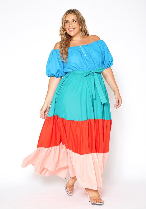 Asoph Plus Size Color Layered Off Shoulder Maxi Dress