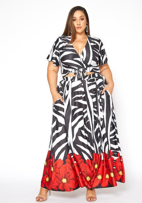Asoph Plus Size Summer Love Wrap Crop Top & Maxi Skirt Set