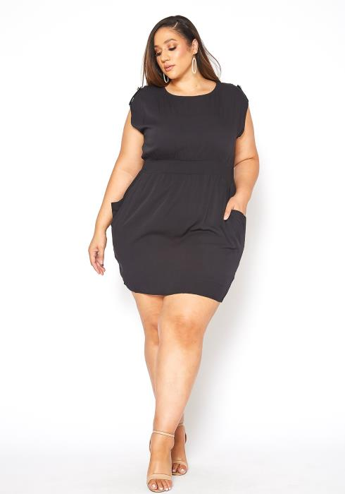 Asoph Plus Size Sleeveless Black Mini Dress