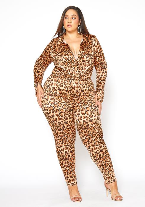 Asoph Plus Size Wild Thoughts Collar Bodysuit & Fitted Pants Set