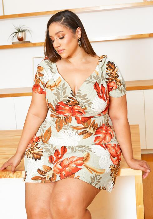 Asoph Plus Size Summer Paradise V Neck Mini Dress