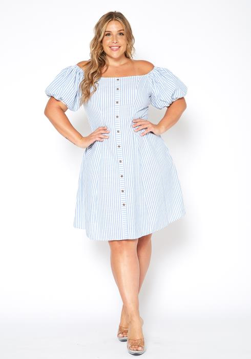 Asoph Plus Size Puffy Sleeve Stripped Fit Flare Dress