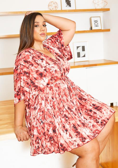 Asoph Plus Size Romantic Summer Flare Mini Dress