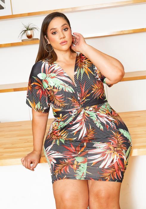 Asoph Plus Size Tropical Bae Bodycon Mini Dress