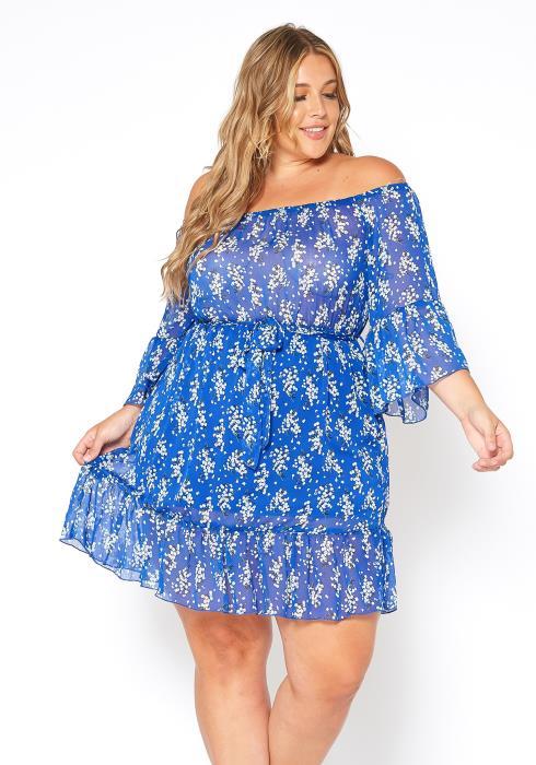 Asoph Plus Size Floral Off Shoulder Chiffon Dress
