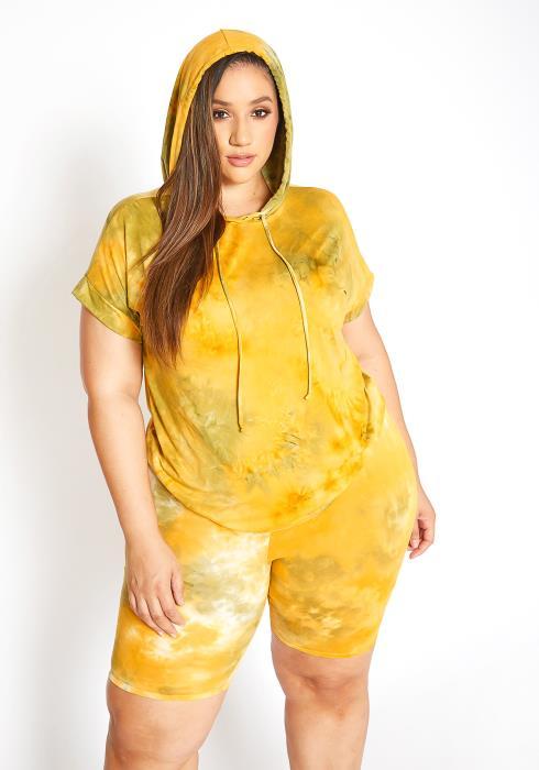 Asoph Plus Size Sunny Tie Dye Sweatshirt & Biker Shorts Set