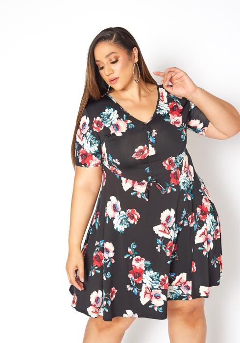 Asoph Plus Size Floral Bloom Fit& Flare Mini Dress