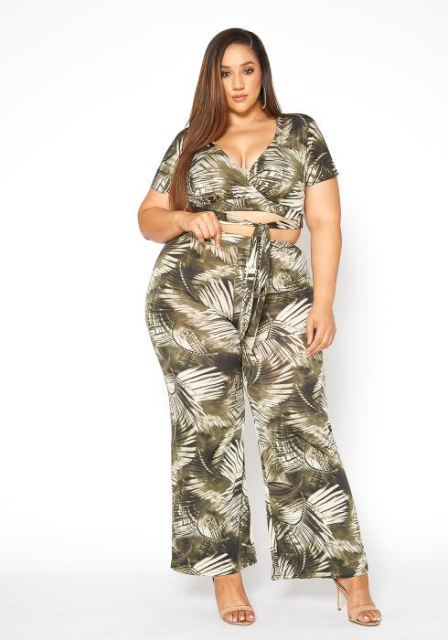 Asoph Plus Size Island Gal Wrap Crop Top & Flare Pants Set