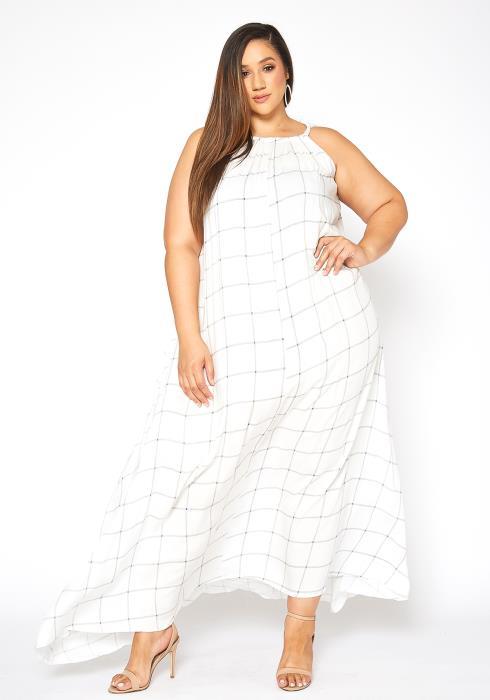 Asoph Plus Size Gridline Print Fit & Flare Cami Maxi Dress