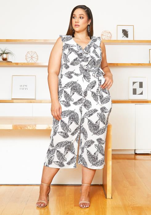 Asoph Plus Size Leaf Design Sleeveless Capri Jumpsuit